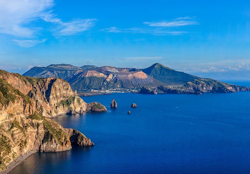 Aerial view of Aeolian islands