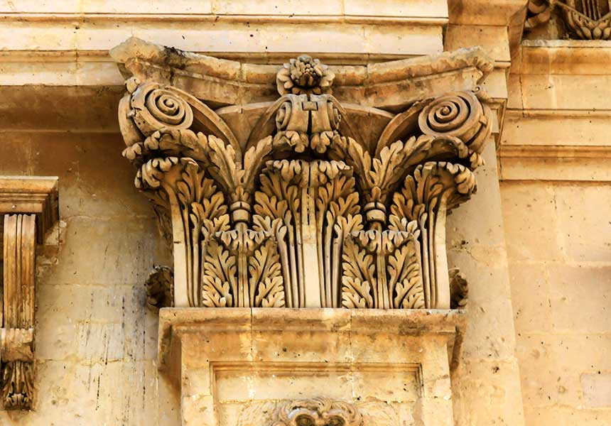 Architectural details in Noto