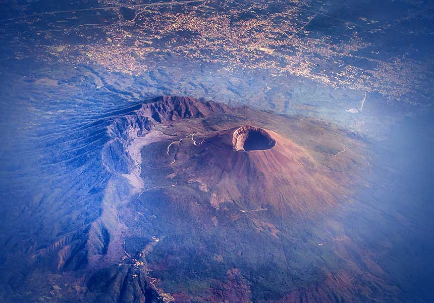 Etna's crater view from sky