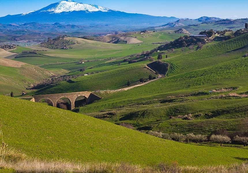 Green fields near Etna Volcano