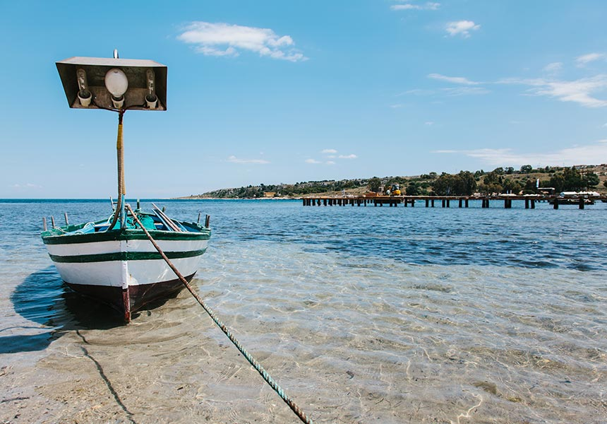 Litle fishing boat on Brucoli, Syracuse, Sicily