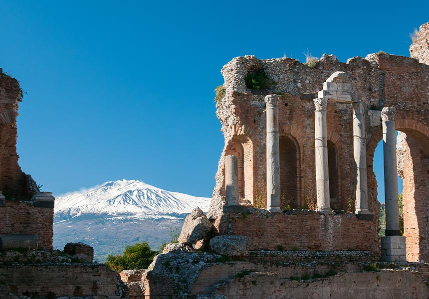 Etna view from ancient theater of Taormina