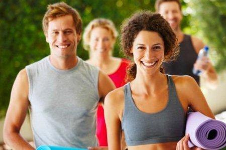 Smiling yoga group